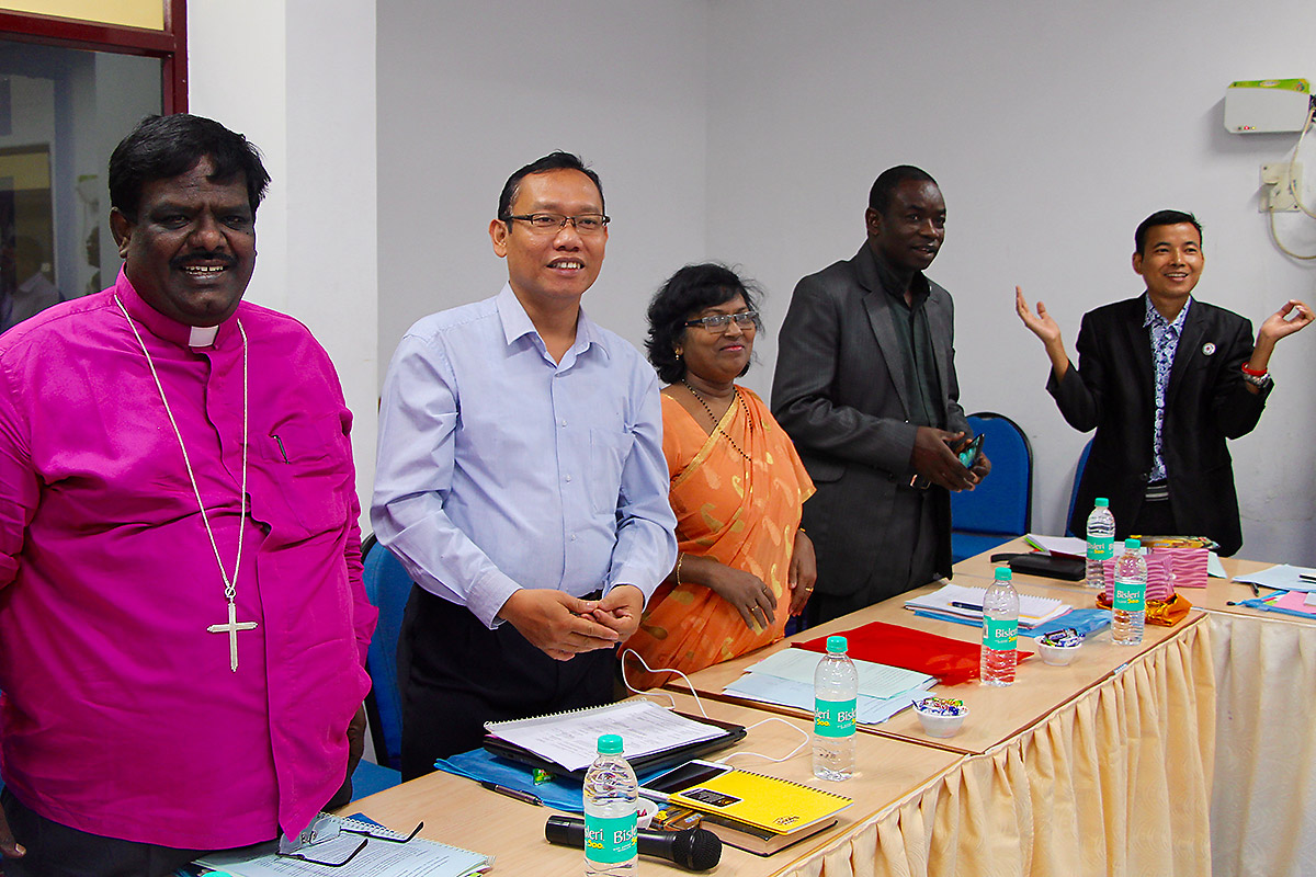 Bishop Michael Ben Hur, Dr Jan Hutner Saragih, Dr Prasuna Nelavala, Rev Thomas Diouf and Rev James San Aung during LWF/DMD Asia & Africa Joint Review Meeting on HICD Frameworks in Chennai, India. Photo: LWF/S. Lawrence.