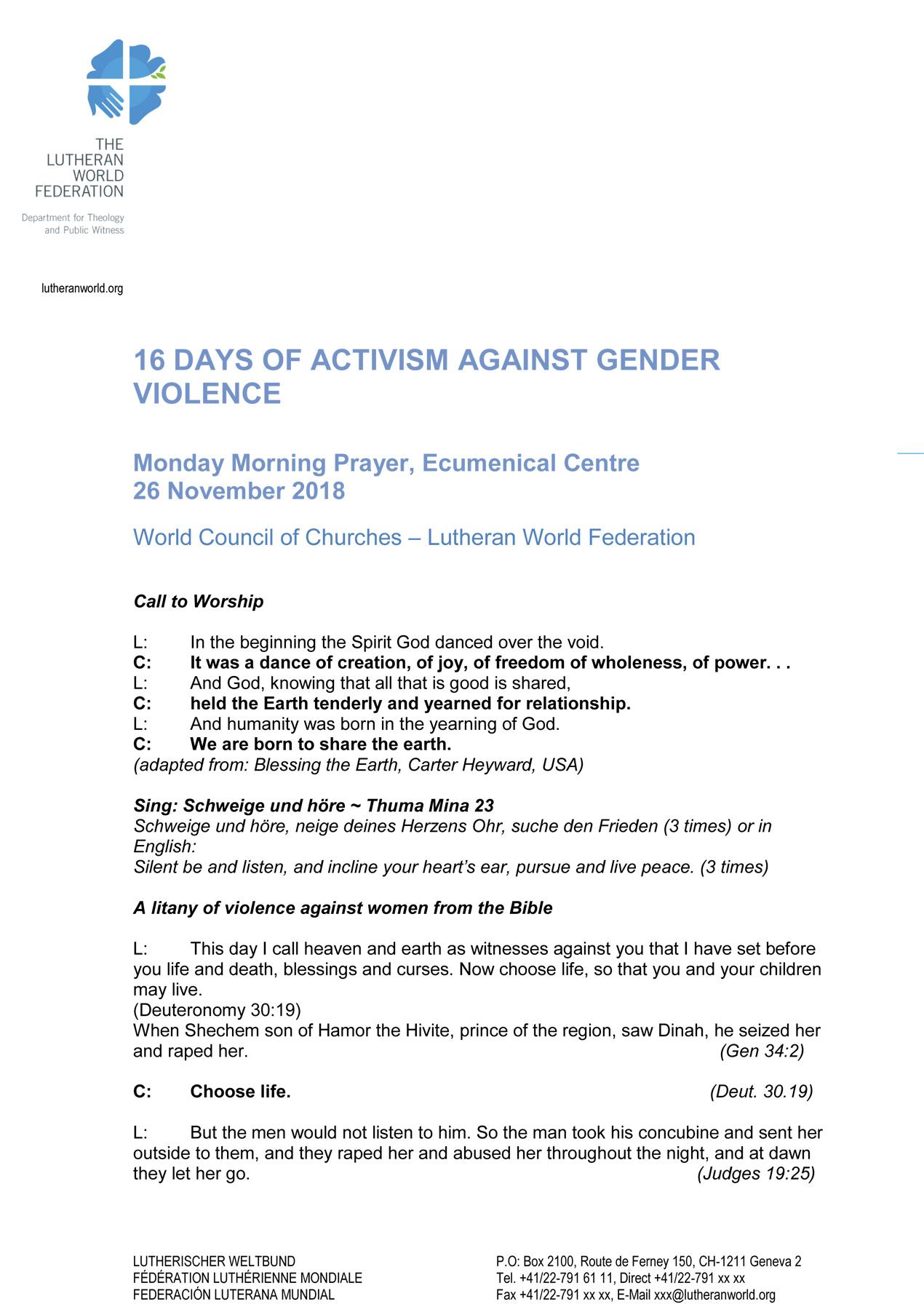 Resource - 16 Days of Activism Against Gender Violence - Liturgical