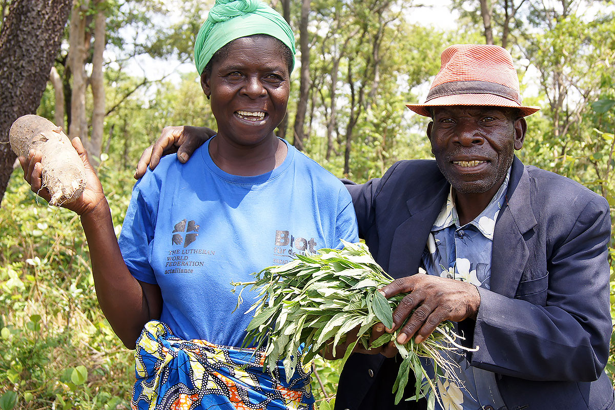 A couple which has been driven from their land, on the plot where they farm cassava. With support by LWF, they have started to employ all legal means to get their land back.