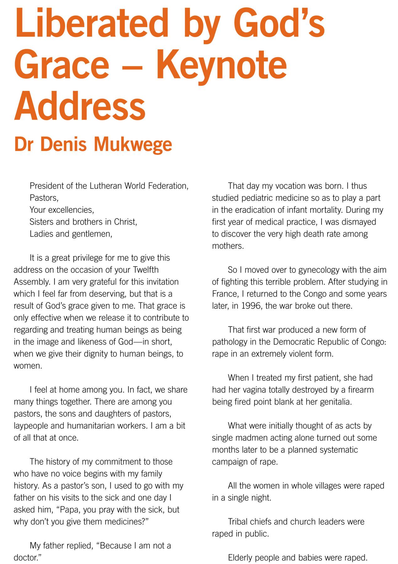 Liberated by God's Grace – Keynote Address Dr Denis Mukwege