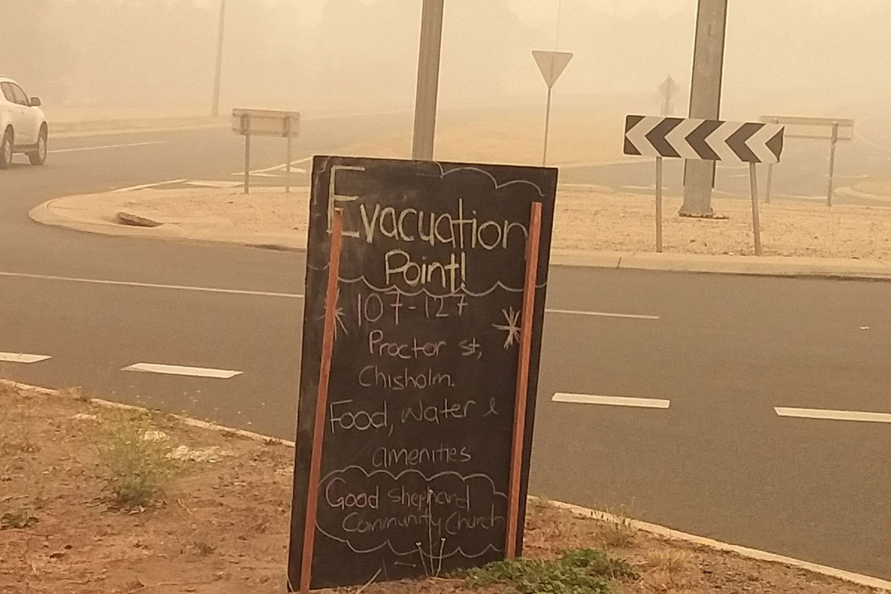 Sign to bushfire evacuation point – The Good Shepherd Lutheran Church at Tuggeranong, ACT, opened its doors as an emergency evacuation center.