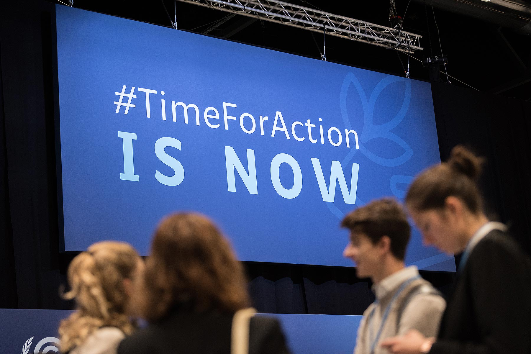 #TimeForAction is Now reads a sign at COP25, reflecting the need for urgent action to mitigate the global climate crisis. Photo: LWF/Albin Hillert