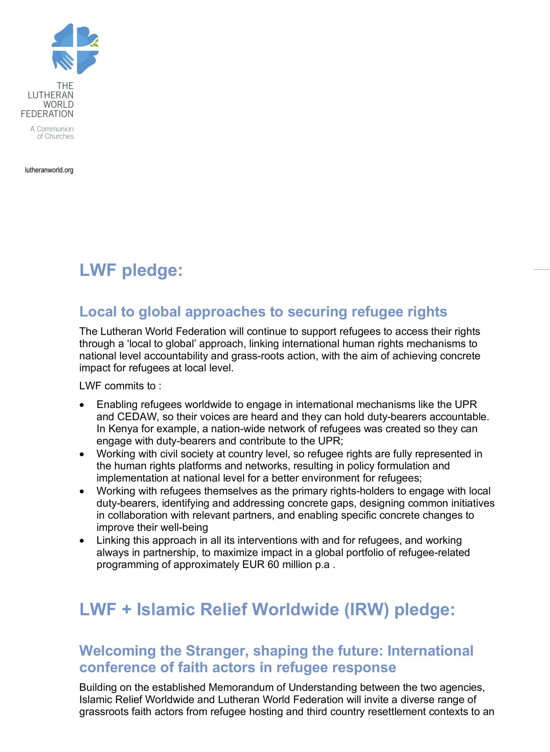 LWF pledges