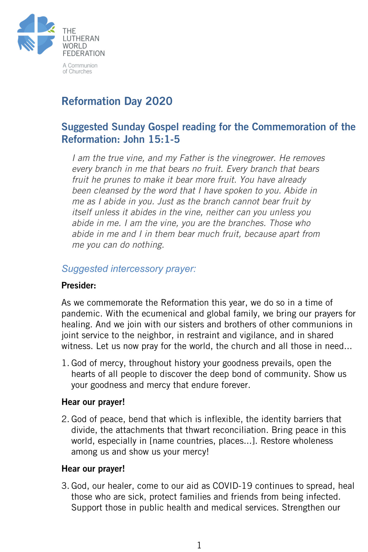 Reformation 2020 Worship Materials Prayers in various languages to be used for marking Reformation Day 2020