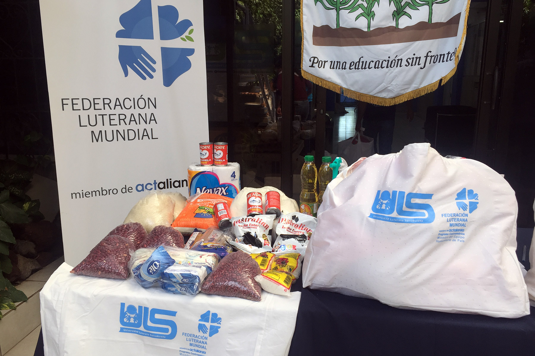 A typical food parcel. The bag contains food which supports 4-5 people for three weeks.