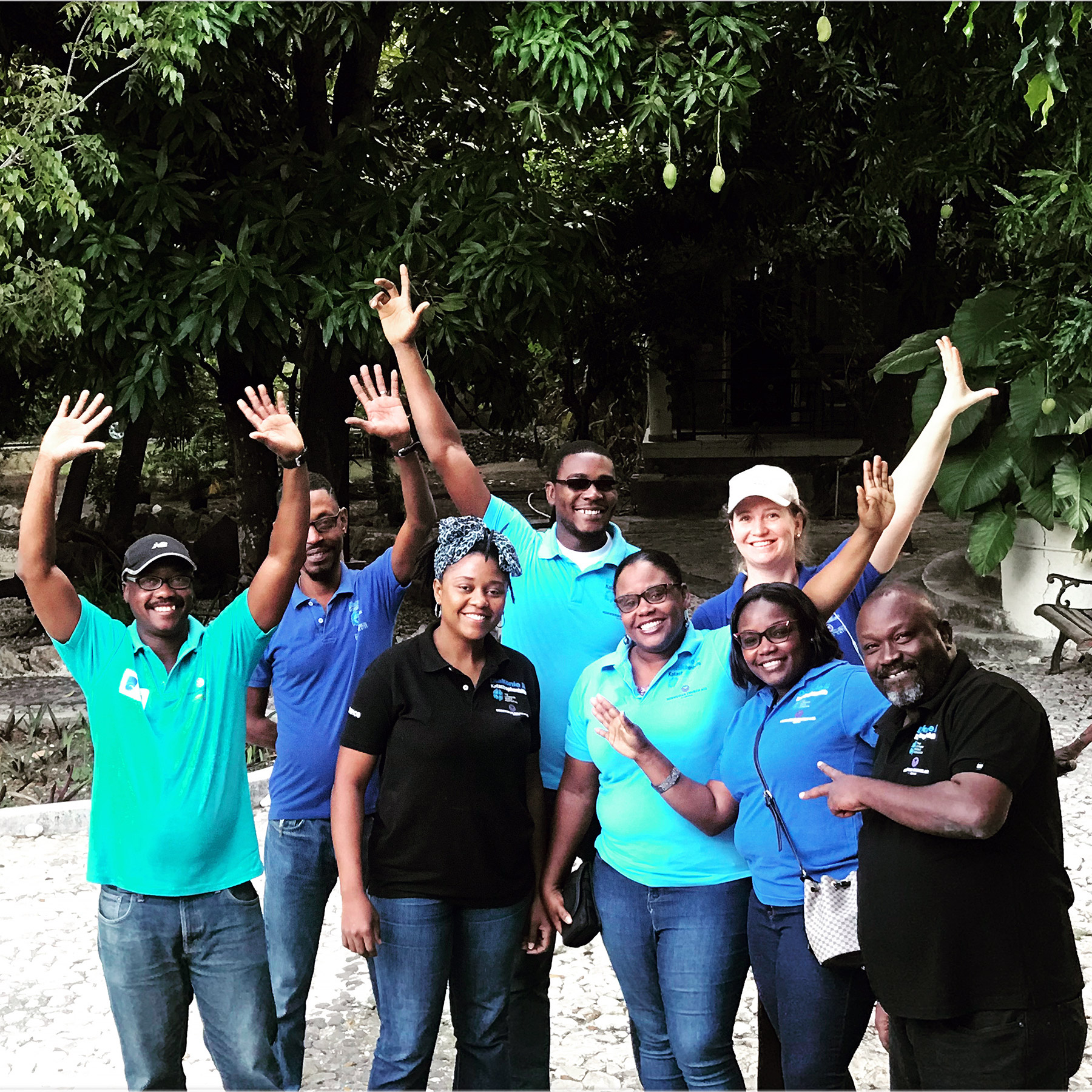 LWF/NCA/DKH country representative Starry Sprenkle (back row, right) with the team which is promoting the WASH campaign for schools in Haiti