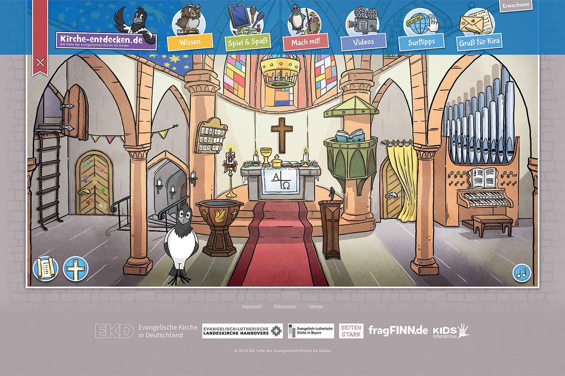 Kira the Magpie invites girls and boys to discover various parts of the church.