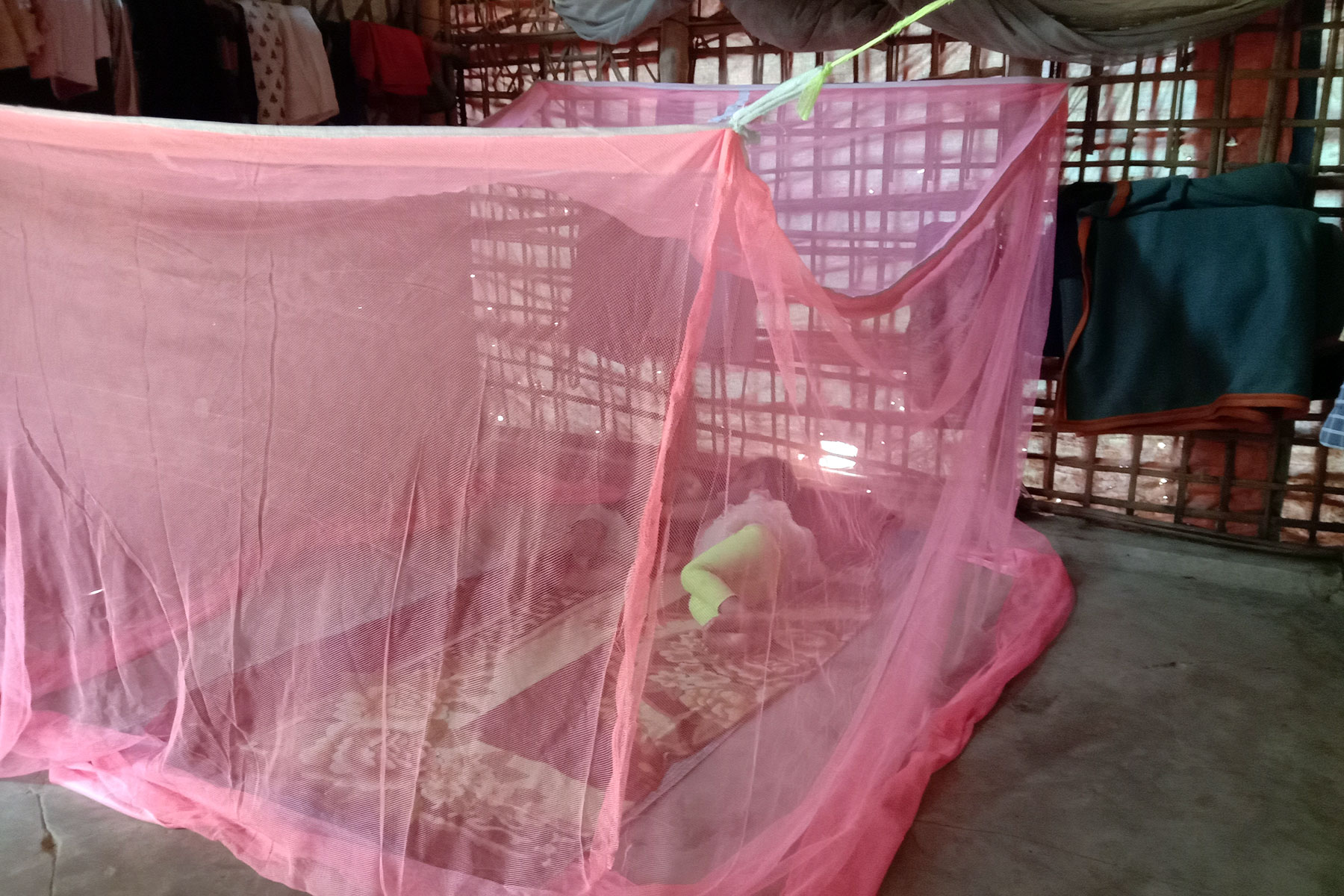 Mosquitoes are a big concern in the camp. The site is overcrowded, standing water during monsoon makes it easy for the insects to breed. Mosquitoes are known for spreading diseases like Dengue and malaria, especially to children.