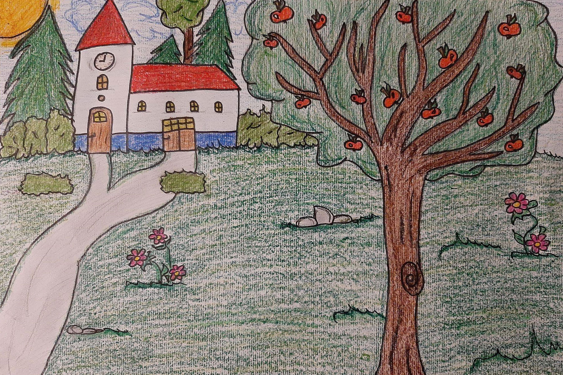 In addition to planting apple trees, children also made drawings, learnt songs, and prepared a church service.