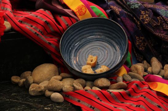 Communion bowl, bread and stone