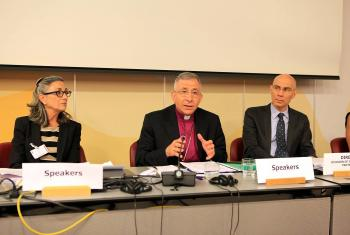 "(middle) LWF President Bishop Dr Munib A. Younan at the launch of ""Welcoming the Stranger"" © UNHCR"