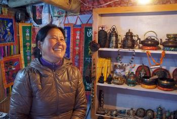 Dolma, a Tibetan refugee, runs a successful souvenir shop, with support from the LWF. Photo: C. Kastner