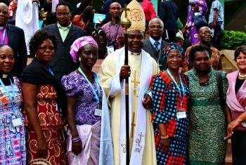 Bishop Malasusa, centre, with members of the LWF Council