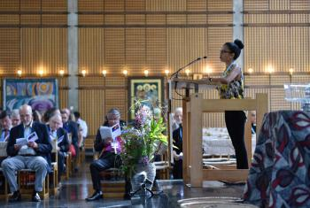 Cheryl Philip, of the Evangelical Lutheran Church in America, presents the liturgy at the opening worship of the LWF Council 2018. All photo: LWF/Albin Hillert