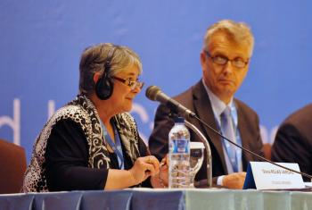 Rev. Dr. Gloria Rojas Vargas presenting the Assembly Planning Committee report. Photo: LWF/M. Renaux