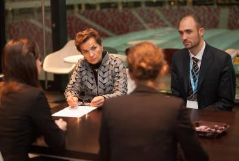 Cristiana Figueres speaking with the LWF COP19 delegation. Photo: LWF/Sean Hawkey