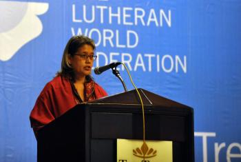 Human rights advocate Kamala Chandrakirana speaking on rights for women, ethnic and religious minorities at the Council 2014 interfaith keynote panel. Photo: LWF/M. Renaux