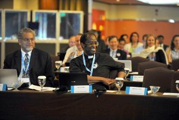 Bishop Ivan Abrahams, WMC general secretary (left), and Rev. Dr Setri Nyomi, WCRC general secretary. Photo: LWF/M. Renaux