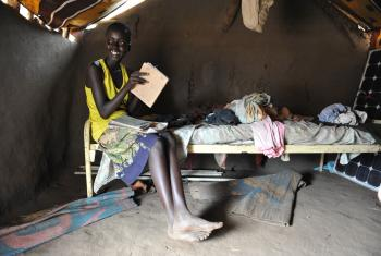 Nyaring, 13, South Sudanese refugee who came from Bor. LWF built her a house and provides her with school materials and cash. Photo: M. Renaux