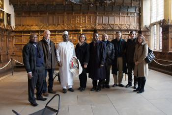 "Participants of the Christian-Muslim consultation on public space in the ""Peace Hall"" in Münster, Germany, where the Peace of Westphalia treaties were signed after the Thirty Years War in Europe. Photo: Marion von Hagen"