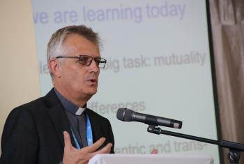 LWF General Secretary Rev. Martin Junge delivers his presentation during the Marangu anniversary conference on 20 May 2015. LWF/Tsion Alemayehu