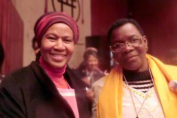 (Left) Phumzile Mlambo-Ngcuka, executive director of UN Women and (right) Rev. Elitha Moyo, coordinator of the ELCZ Gender Justice Project. Photo: Christine Mangale