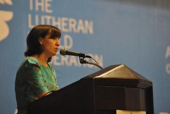 Anastasiya Piddubska of Odessa, Ukraine, reports on the situation in her country during Council 2014. LWF/M. Renaux