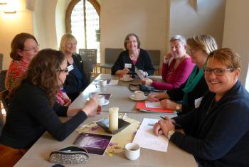 Bishop Guðmundsdóttir (third from right) and other participants of the European WICAS conference in Meissen. Photo: LWF/E. Neuenfeldt