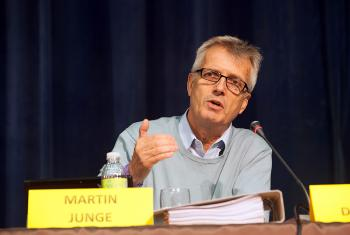 Rev. Martin Junge, General Secretary of the Lutheran World Federation, speaks to a plenary session of the second ACT Alliance assembly meeting in the Dominican Republic. Photo: Sean Hawkey