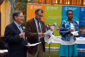 "LWF Assistant General Secretary Mr Ralston Deffenbaugh (left) speaks at the Ecumenical Center launch of the ""Act Now for Climate Justice"" campaign on Earth Day. Photo: LWF/S. Gallay"