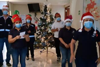 The LWF World Service Central America team, performing a hymn in the main office in San Salvador. Photo: LWF Central America