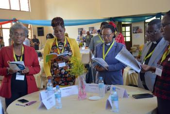 Delegates during the ALCLC, From left: Ms Minia Fecadu, Evangelical Lutheran Church of Eritrea; Ms Faith Wambua, Kenya Evangelical Lutheran Church; Rev. Seganesh Ayele Asele, The Ethiopian Evangelical Church Mekane Yesus, Rev. Justin Mofolo and Ms Mabel Madinga, Evangelical Lutheran Church in Malawi.