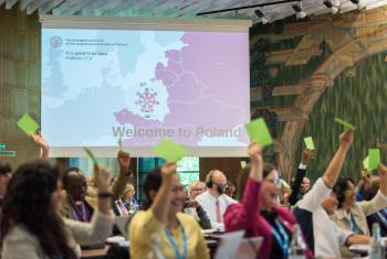 The LWF Council votes for the Thirteenth Assembly to take place in Krakow, Poland. Photo: LWF/ Albin Hillert