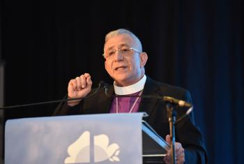 The Lutheran World Federation (LWF) President Bishop Dr Munib A. Younan addressing participants on the opening day of the Twelfth Assembly of the LWF in Namibia's capital Windhoek. Photo: LWF/Albin Hillert