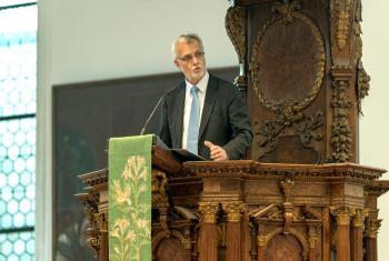 LWF General Secretary Rev.Dr Martin Junge, during his speech at the Ausburg symposium. Photo: Augsburg University