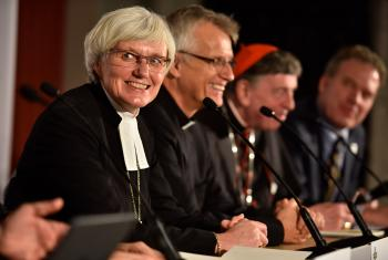 Church of Sweden Archbishop Antje Jackelén (left) with LWF and Catholic Church leaders during a press conference for the October 2016  joint commemoration in Lund, Sweden. Photo: LWF/M. Renaux