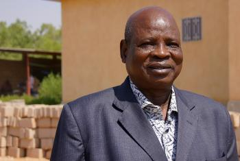 Rev Robert Goyek Daga, in front of the millennium Cathedral that his church is building in the center of Garoua town. Photo: LWF/ C. Kästner