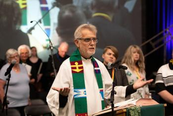 LWF General Secretary Rev. Dr Martin Junge participated in the opening worship of the National Convention of the Evangelical Lutheran Church in Canada and addressed the convention, offering greetings and insights from the LWF. Photo: ELCIC Communications.