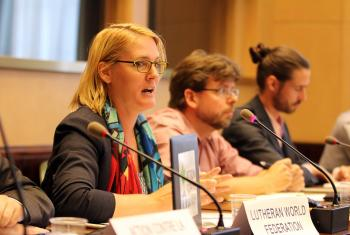 Photo: Susan Muis (center), LWF Regional program Officer for CAR, DRC and Chad, speaks at the NGO briefing in the Palais des Nations. Photo: LWF/Peter Kenny