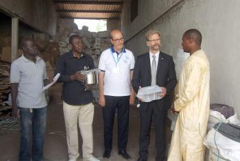 German Charge d'Affaires, UNHCR and LWF representatives at the NFI handover. Photo: LWF Chad/S. Dalou