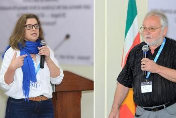 Chile's Lutheran Bishops Izani Bruch (left) and Siegfried Sander, in Paramaribo, Suriname, during the LWF Pre-Assemblies for Latin America and the Caribbean, and North America, where the Reformation anniversary was one of the main topics. Photo: LWF/Hubert Hermelijn