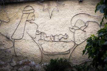 A nativity scene decorates a wall outside a church in Bogotá, Colombia. Photo: courtesy of Albin Hillert
