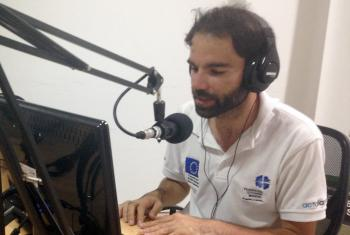LWF/ DIPECO radio host Victor Linares on air. Photo: LWF Colombia/Nubia Rojas