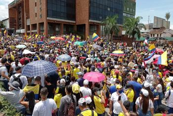 Anti-government protesters in the Colombian city of Cali on 1 May 2021. Photo: Remux / Wikimedia Commons (CC-BY-SA)