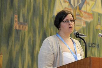 Rev. Dr Minna Hietamäki presents the document, The Self-Understanding of the Lutheran Communion. Photo: LWF/Helen Putsman