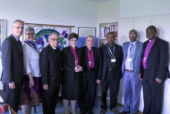 Participants of the signing ceremony between EECMY – DASSC and ELCA Global Mission to resume cooperation on ongoing projects in the field of Diakonia. Photo: LWF/S. Gallay