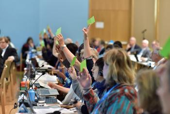 Holding the green card: members of the LWF Council vote on a proposal at the 2016 Council meeting. Photo: LWF/M. Renaux