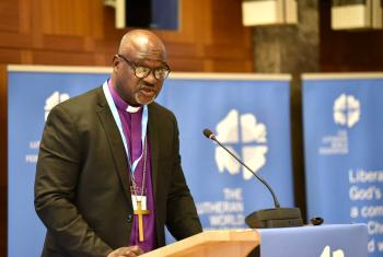 LWF President Archbishop Dr Panti Filibus Musa examined the significance of the Twelfth Assembly and the Reformation anniversary in his address to the 2018 Council. Photo: LWF/Albin Hillert