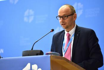 Report of the LWF finance committee chairperson Oberkirchenrat Olaf Johannes Mirgeler at the Council 2018 in Geneva. Photo: LWF/Albin Hillert