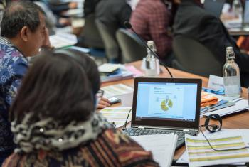Members of the LWF Council follow the finance report during the 2018 meeting in Geneva. Photo: LWF/Albin Hillert
